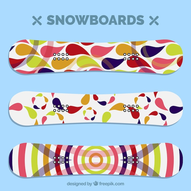 Colorful snowboard collection