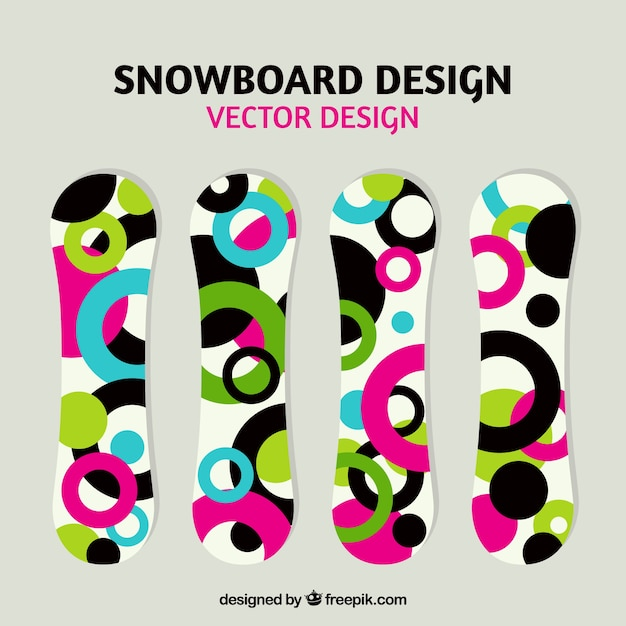 Colorful snowboards with circles design