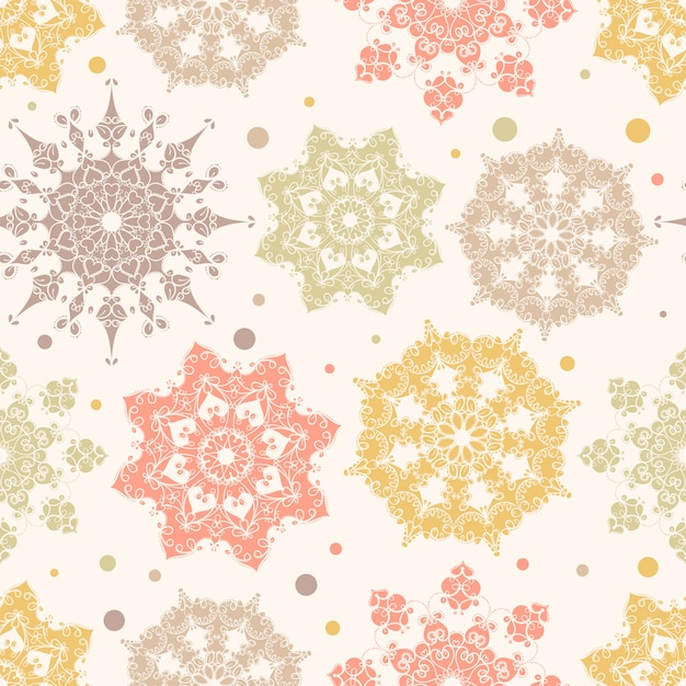 Colorful snowflakes seamless pattern Premium Vector