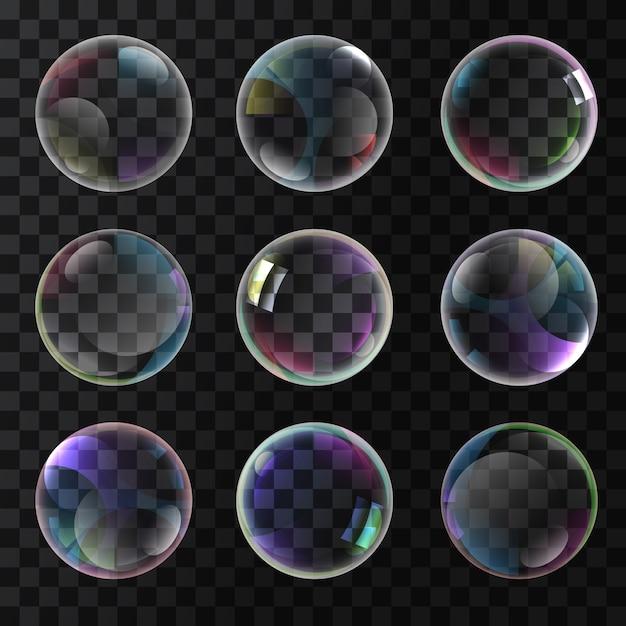 Colorful soap bubbles Free Vector