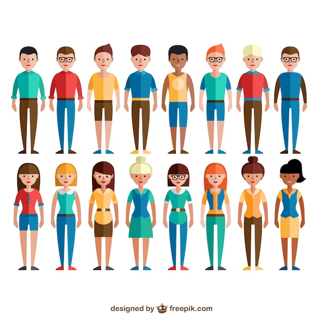 Colorful social group Free Vector