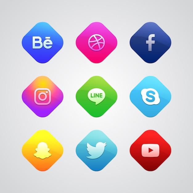 Colorful social media logo collection Premium Vector