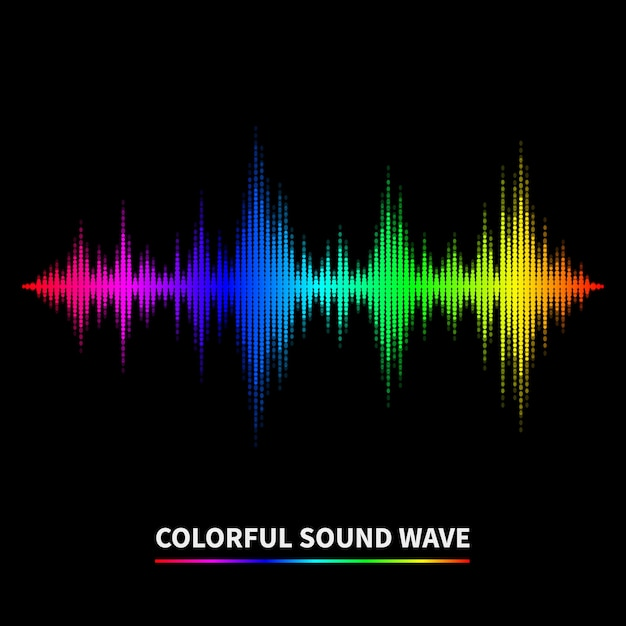 カラフルな音波の背景。イコライザー、ブランコ、音楽。ベクトルイラスト 無料ベクター