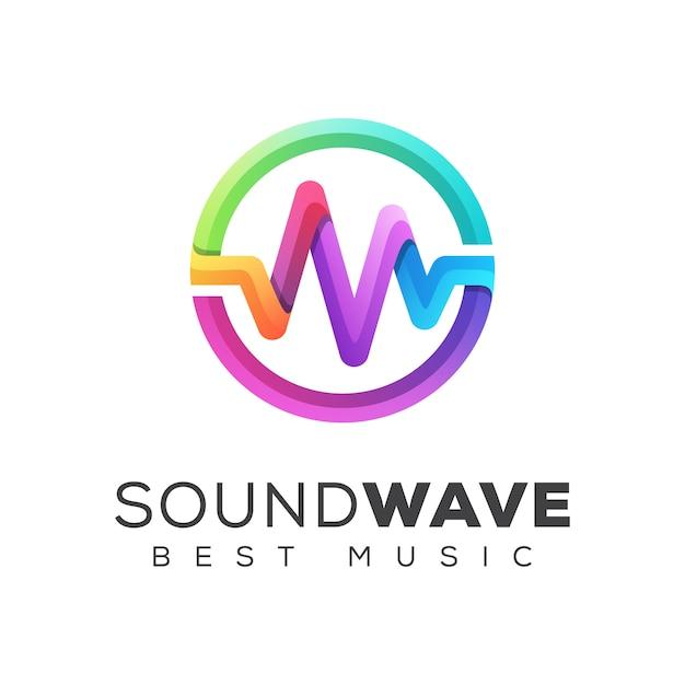 Colorful sound wave equalizer music logo design  template Premium Vector