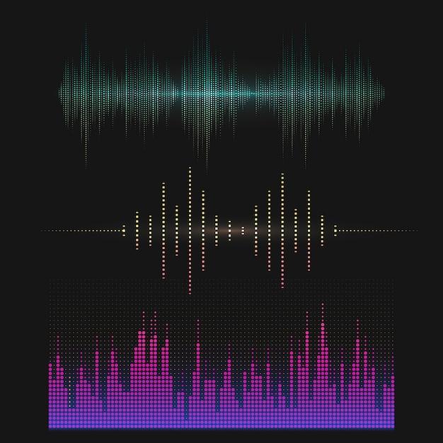 Colorful sound wave equalizer vector design set Free Vector