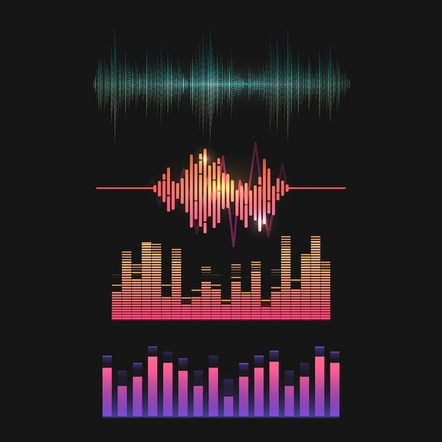 Colorful sound wave equalizer vector design set Vector | Free Download
