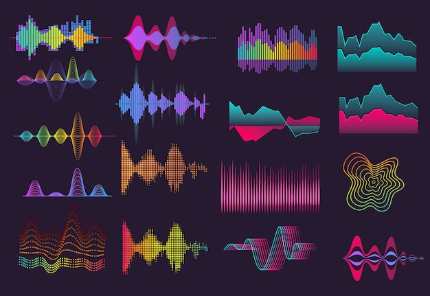 Colorful sound wave set Free Vector