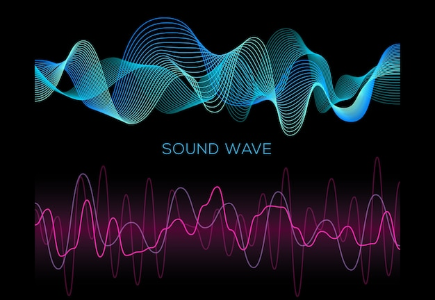 Colorful sound waves on black background set, audio player, equalizer, musical pulse Premium Vector