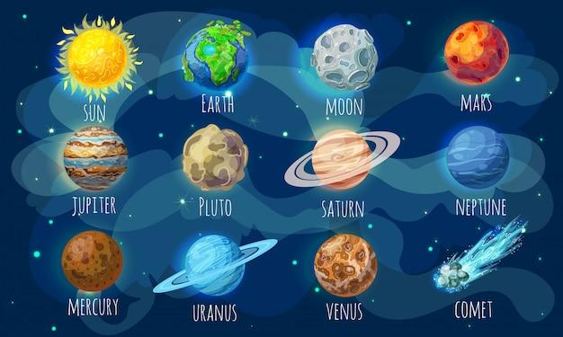 Insieme di elementi dello spazio colorato Vettore gratuito