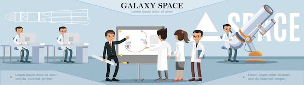 Colorful space exploration template with scientists working in observatory in flat style Free Vector