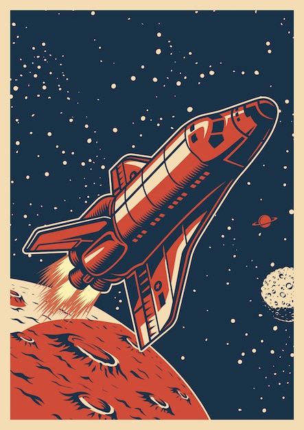 Colorful space poster Premium Vector