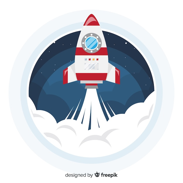 Colorful space rocket composition with flat design Free Vector