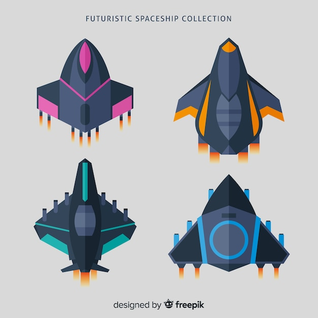 Colorful spaceship collection with flat design Free Vector