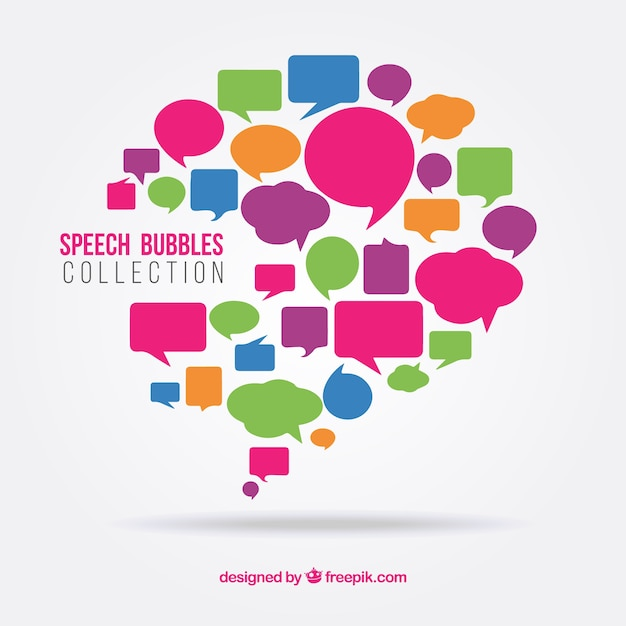 Colorful speech bubbles set Free Vector
