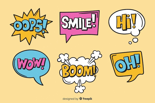 Colorful speech bubbles with different expressions Free Vector
