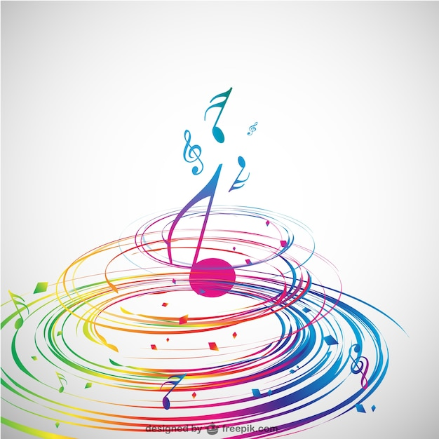 Colorful spiral and a music note in the middle  Free Vector