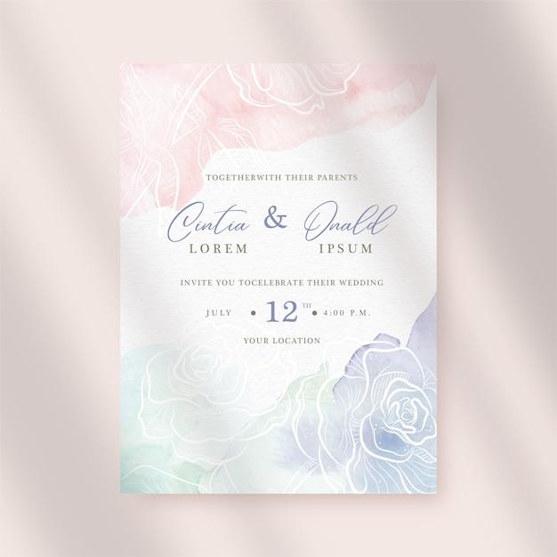 結婚式の招待状にカラフルなスプラッシュと花の背景 Premiumベクター