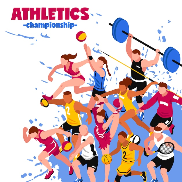 Colorful sport isometric poster Free Vector