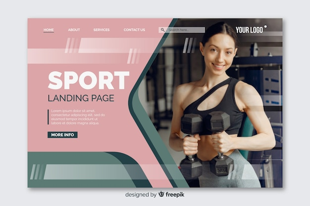 Colorful sport landing page with photo and fading shapes Free Vector