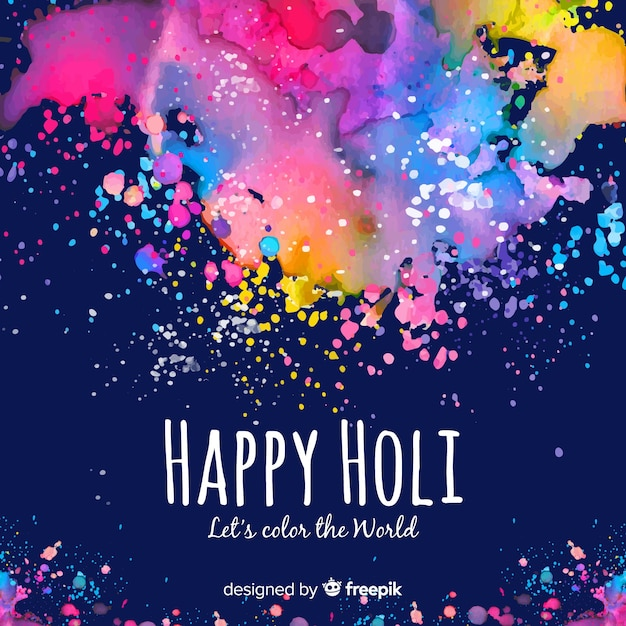 Colorful spots holi festival background Free Vector