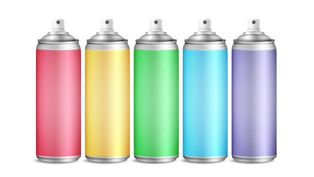 Colorful spray can set Premium Vector