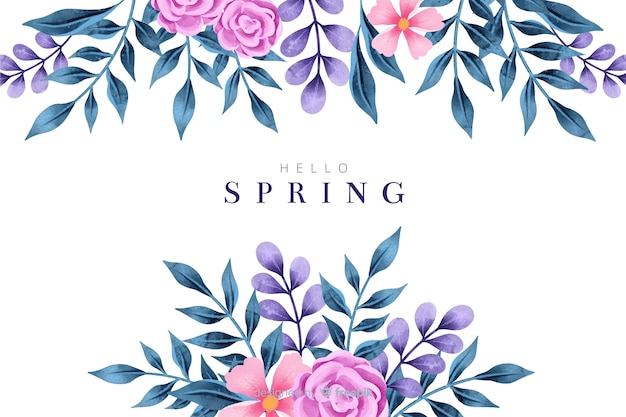 Colorful spring background with watercolor flowers Free Vector