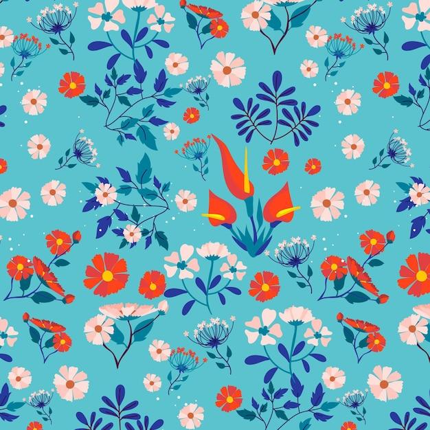 패브릭 패턴에 화려한 봄 꽃 프리미엄 벡터