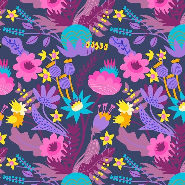 패브릭 패턴에 화려한 봄 꽃 무료 벡터