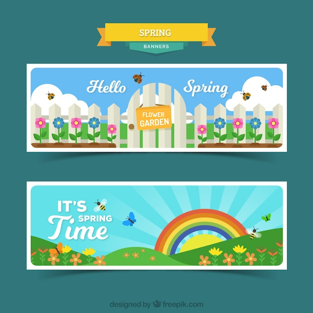 Colorful spring landscape banners