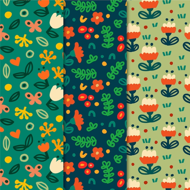 Colorful spring patterns collection Free Vector
