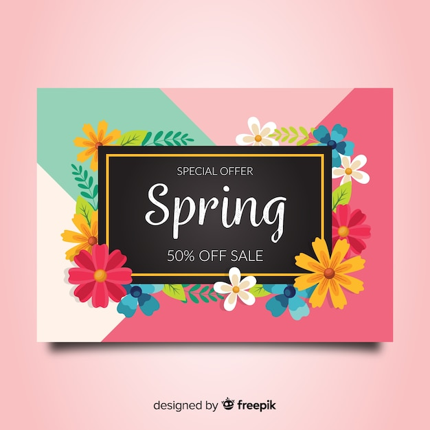 Colorful spring sale banner Free Vector