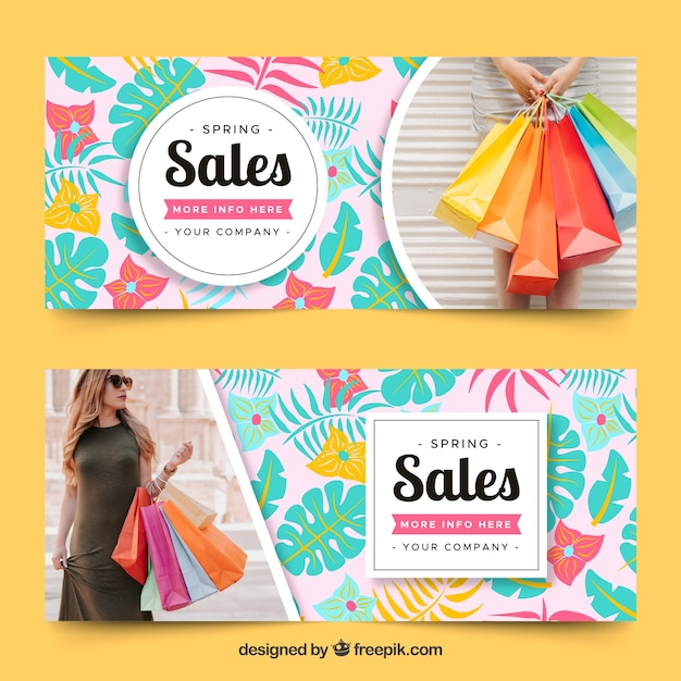 Colorful spring sale banners with photo Free Vector