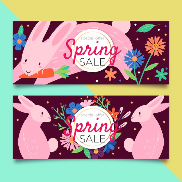 Colorful spring sale banners Free Vector