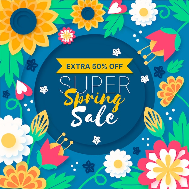 Colorful spring sale in paper style concept Free Vector