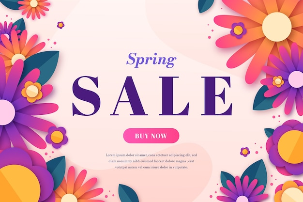 Colorful spring sale in paper style Free Vector