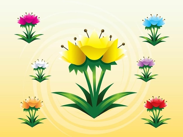 Colorful spring tulips vector