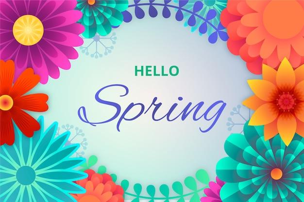 Красочные весенние обои с цветами Бесплатные векторы