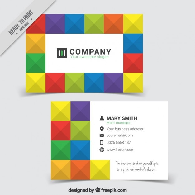 Colorful squares company card Free Vector