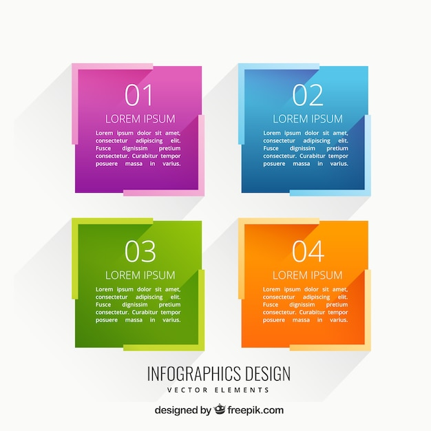 Colorful squares infographic Free Vector