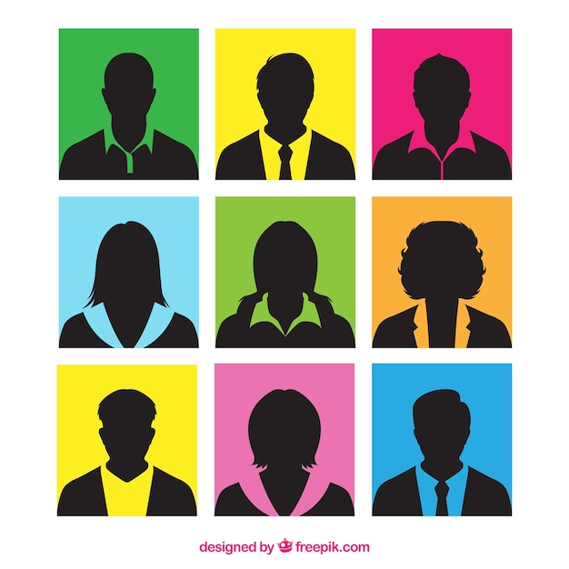 Colorful squares with silhouettes of people