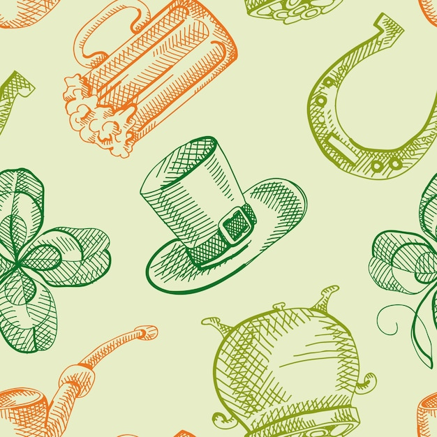 Colorful st patricks day seamless pattern with hand drawn traditional symbols and festive elements Free Vector