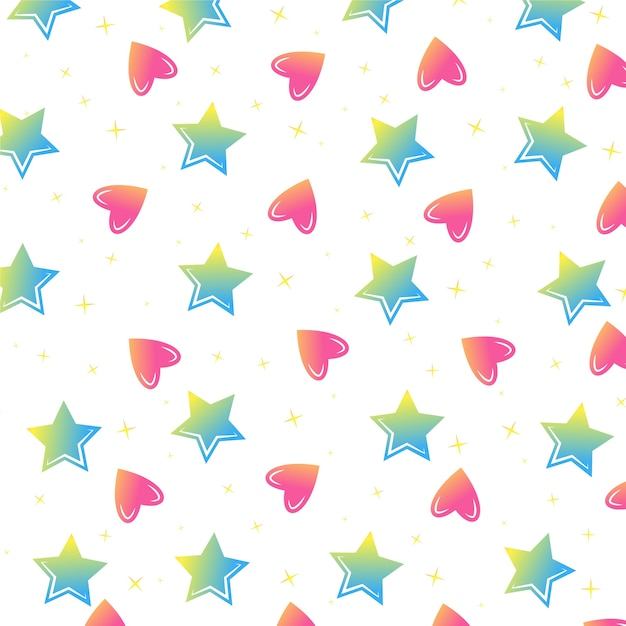 Colorful stars and hearts seamless vector pattern Premium Vector