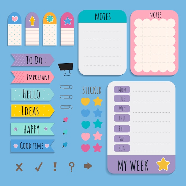 Colorful stationery set Free Vector