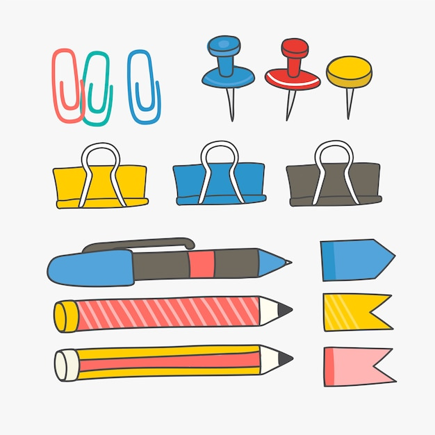 Colorful stationery supplies collection Free Vector