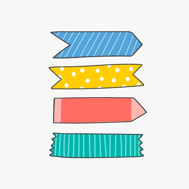 Colorful stationery supplies Free Vector