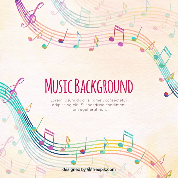 Colorful staves background with musical notes Free Vector