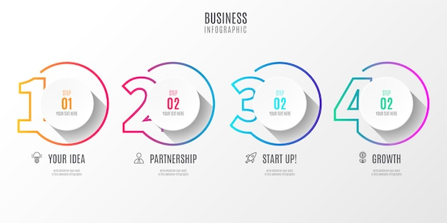 Colorful step business infographic with numbers Free Vector