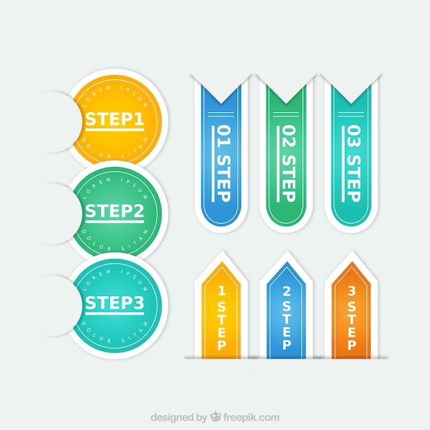 Colorful steps labels Free Vector