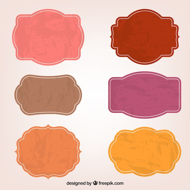Colorful sticker labels Free Vector