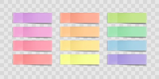 Colorful sticky notes, post stickers with shadows isolated on a transparent background Premium Vector